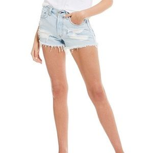 Levi's 501 shorts distressed light wash